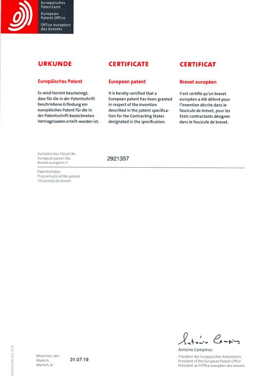 2921357 certifikat och patent